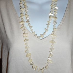Jewelry - Handmade X-Long Tiny Fx Pearl Glass Chip Necklace